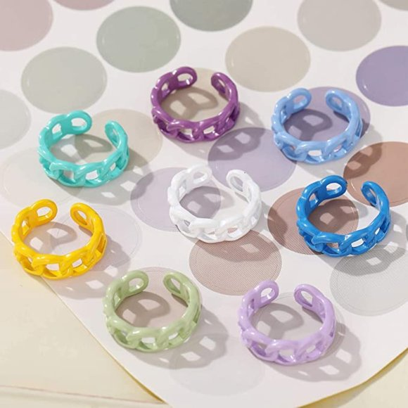 8pcs Colorful Acrylic Resin Chunky Rings for Women